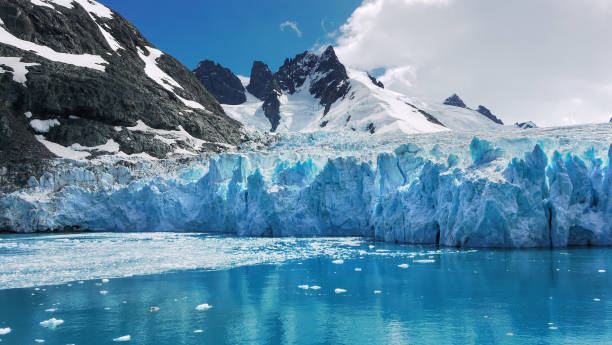 Blue and turquoise color ice of glacier face and reflections in calm water of Drygalski Fjord, South Georgia Island. stock photo
