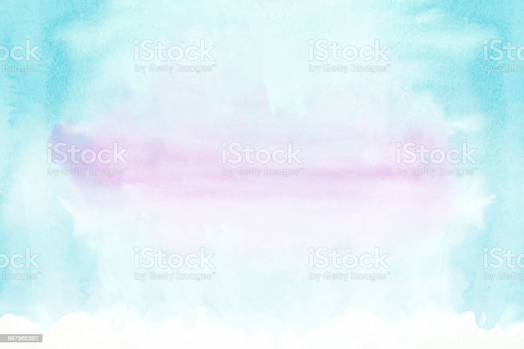 Blue and violet horizontal watercolor gradient hand drawn background. Bottom part is lighter than other sides of image stock photo