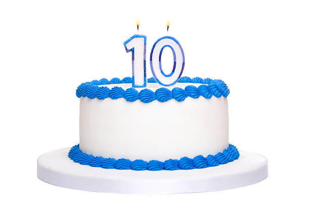 blue and white 10th birthday cake - number 10 stock photos and pictures