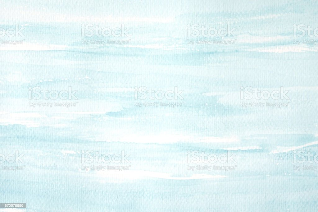 Blue and white abstract watercolor painting textured on white paper background stock photo