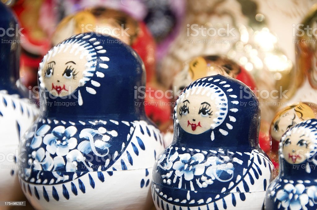 Blue and white Babushka or Matryoshka Russian nesting dolls stock photo