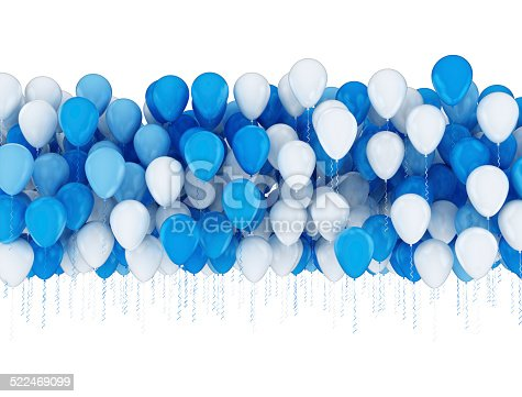 istock Blue and white balloons 522469099