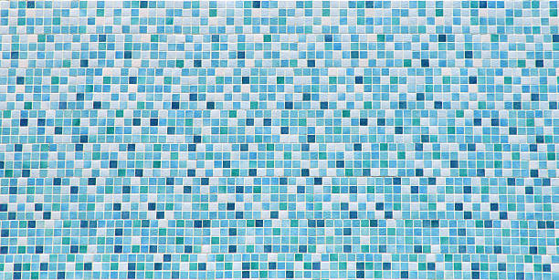 blue and white bathroom tile background - mozaïek stockfoto's en -beelden