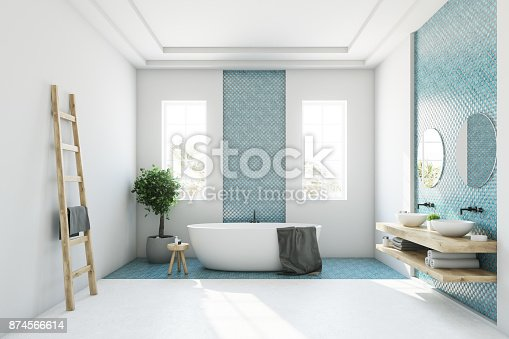 istock Blue and white bathroom, white tub 874566614
