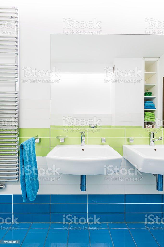 Blue and white bathroom with two sinks Lizenzfreies stock-foto