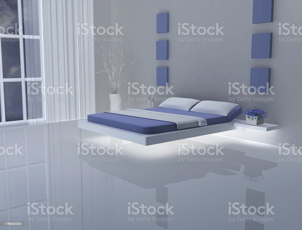 blue and white bedroom royalty-free stock photo