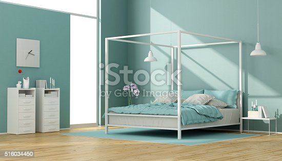 Blue and white bedroom with minimalist canopy bed and chest of drawers - 3D Rendering