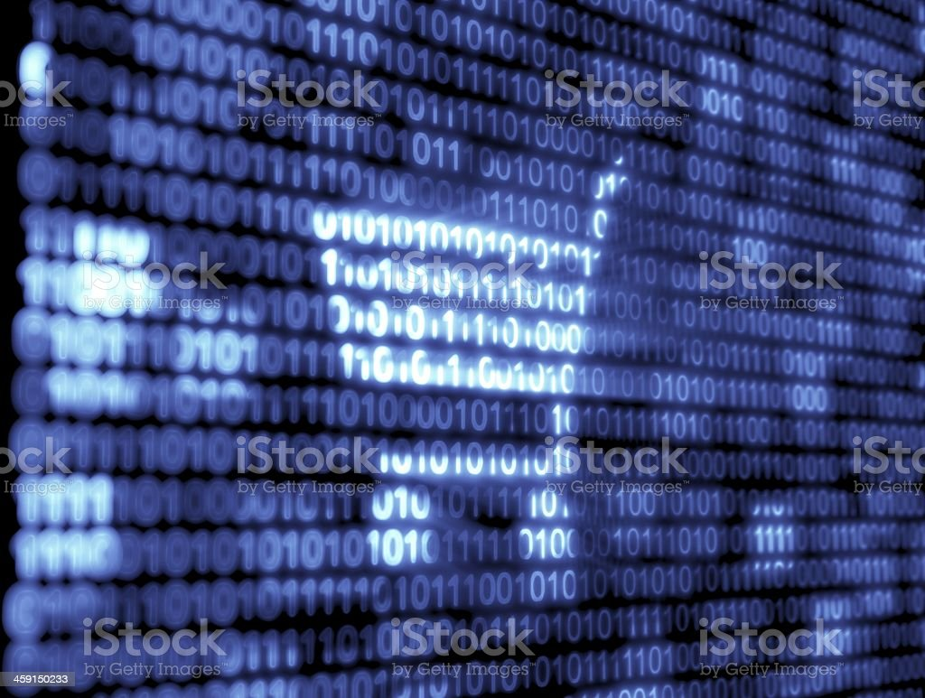 Blue and white binary code technology background stock photo