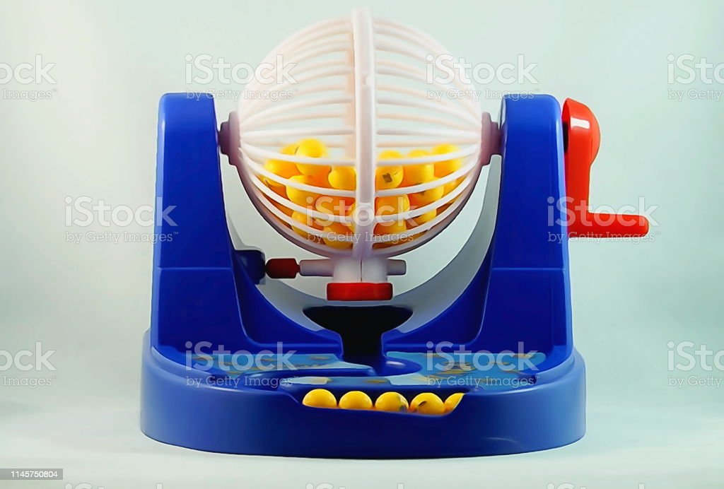 Blue and white bingo machine cage in watermark photographic effect