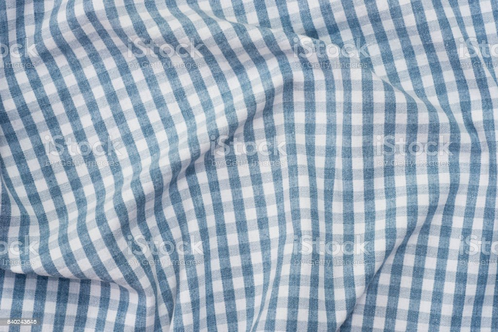 blue and white checkered fabric background texture stock photo