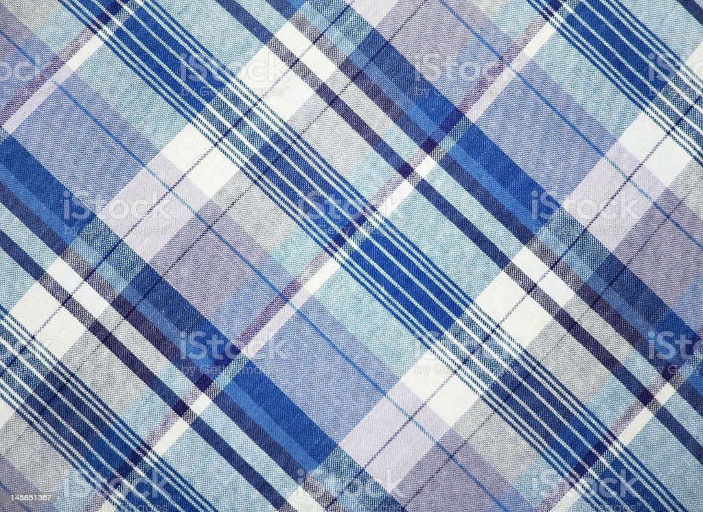 Blue and white checkered fabric royalty-free stock photo