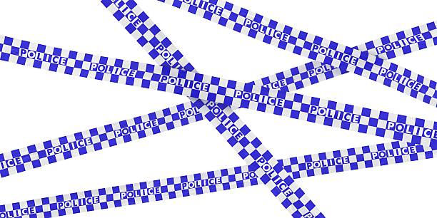 Blue and White Checkered Police Barrier Tape Background stock photo