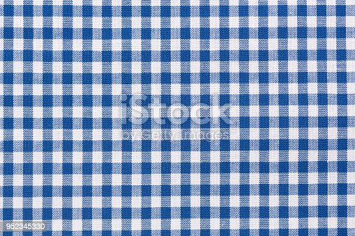 Background of blue and white checkered tablecloth.
