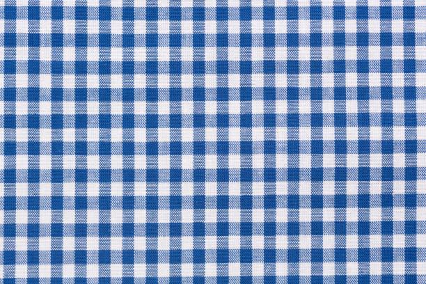 blue and white checkered tablecloth - tovaglia foto e immagini stock