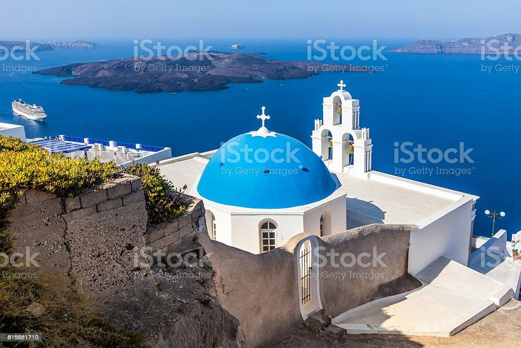 Blue and white church with sea view, Santorini Island, Greece stock photo