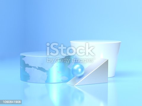 479257178istockphoto blue and white circle floor reflection 3d rendering 1090841906
