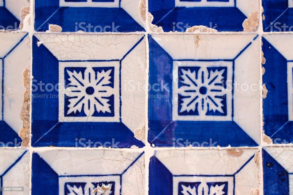 Blue and white decorative Portuguese tiles stock photo