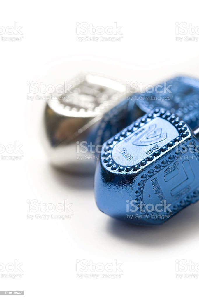 Blue and white dreidels royalty-free stock photo