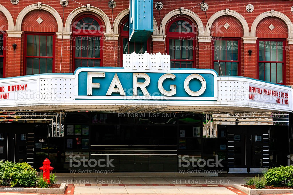 Blue and white Fargo theater sign in Fargo ND stock photo