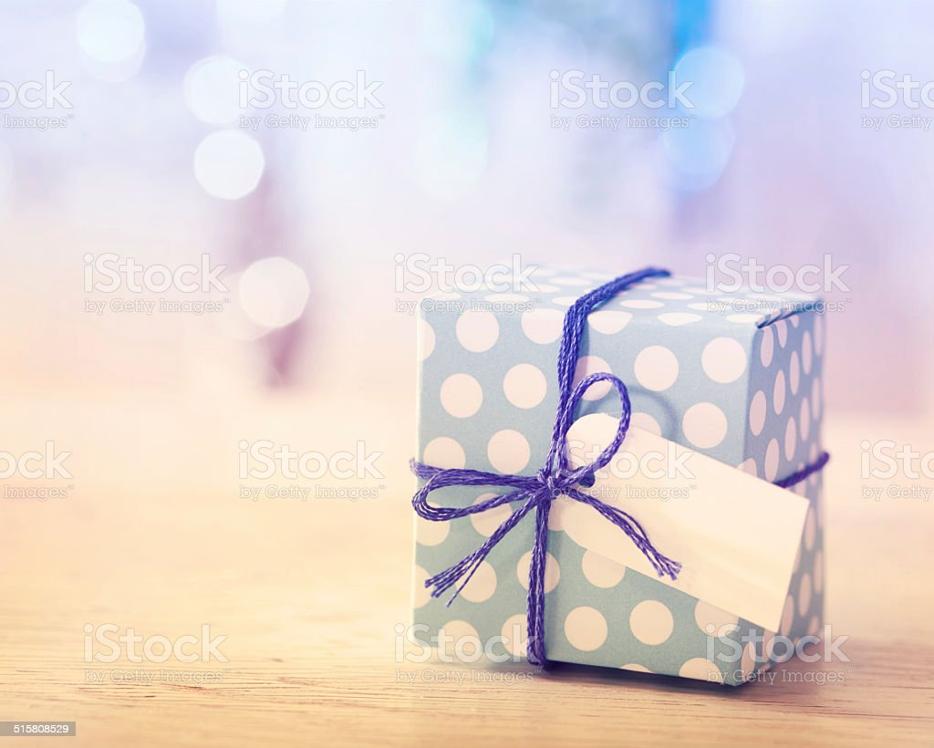 Blue and White Gift box stock photo