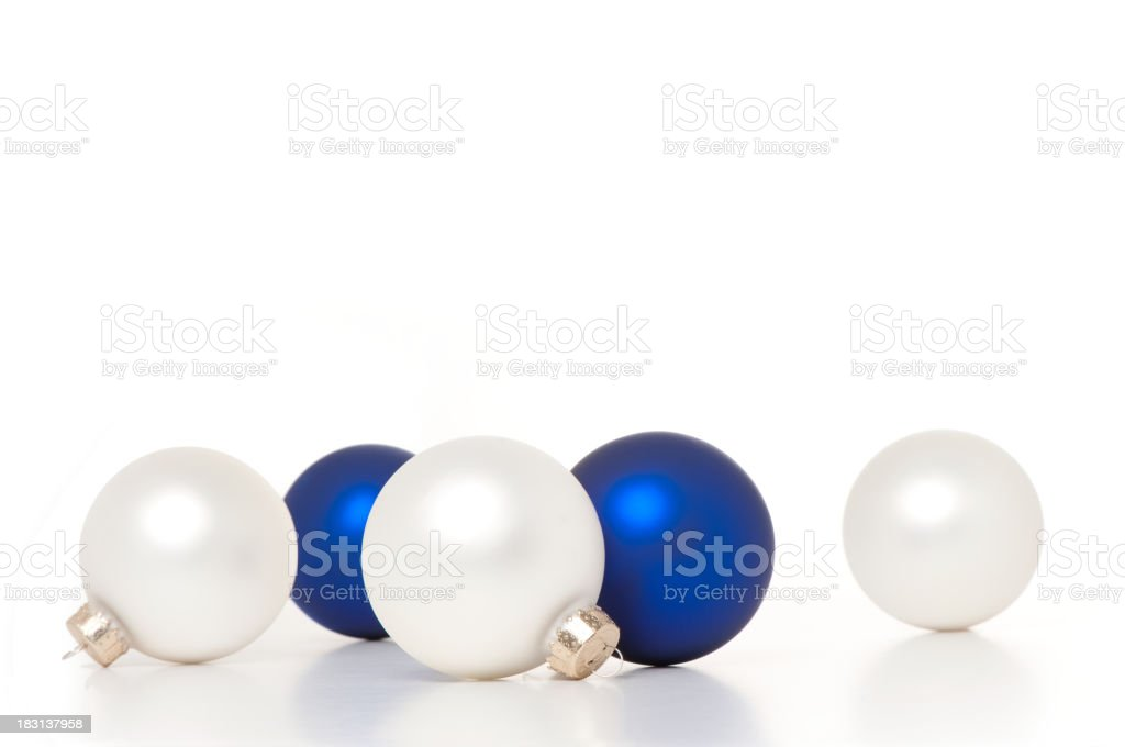 Blue and White Glass Christmas Ball Ornaments stock photo