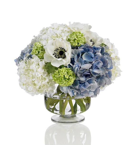 blue and white hydrangea bouquet with poppies on white background - flower bouquet blue and white bildbanksfoton och bilder