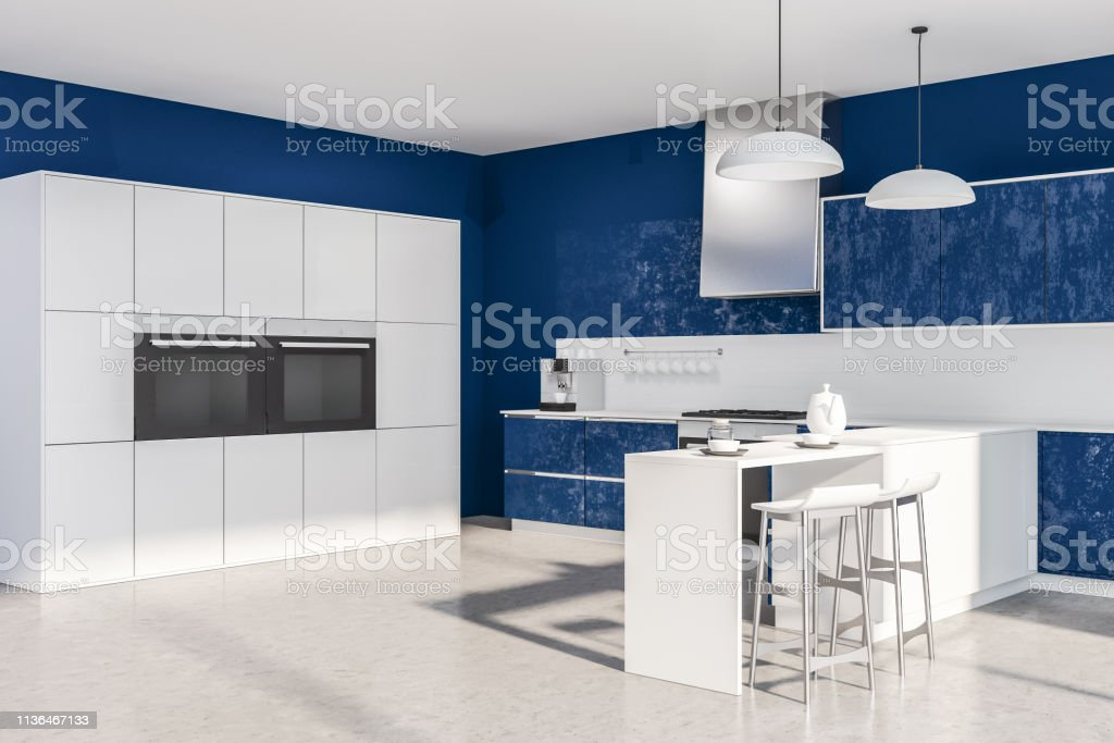 Blue And White Kitchen Corner Stoves Stock Photo Download Image Now Istock