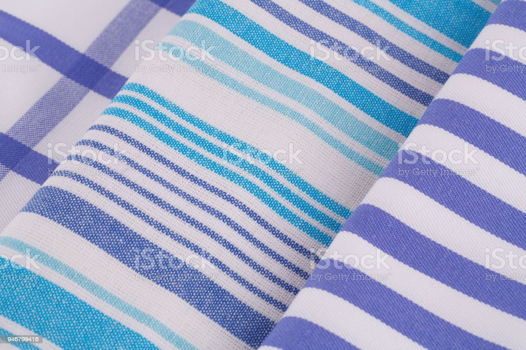 Blue And White Kitchen Towels Royalty Free Stock Photo