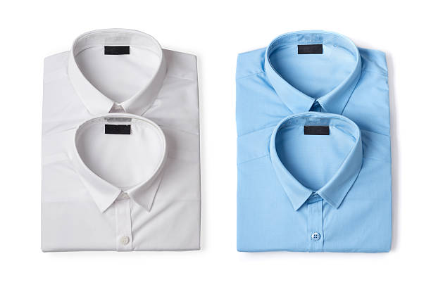 blue and white new men's shirts stock photo