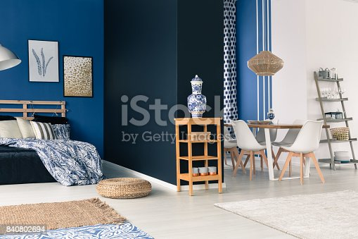 508860888 istock photo Blue and white open loft 840802694