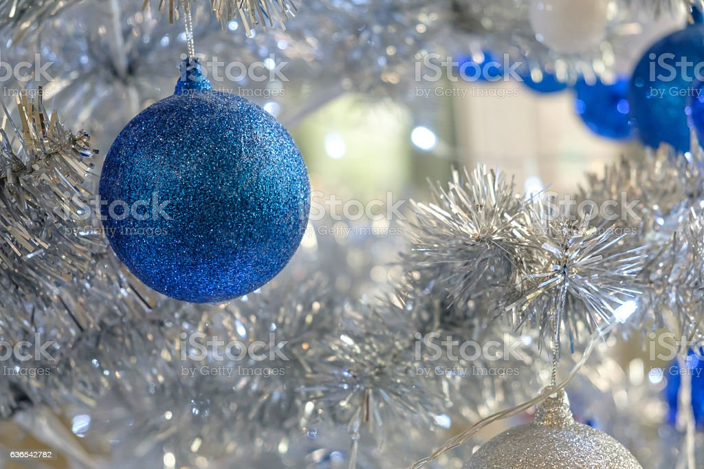 Blue and white ornament. stock photo