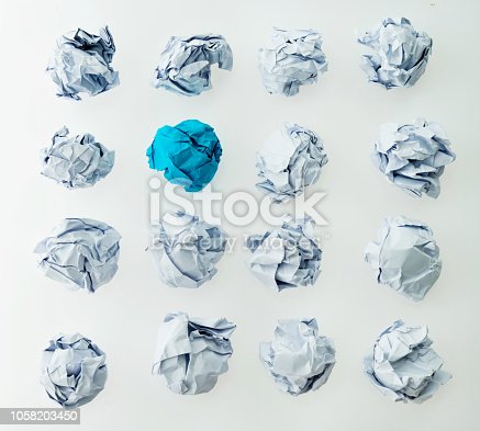 istock Blue and white paper balls 1058203450