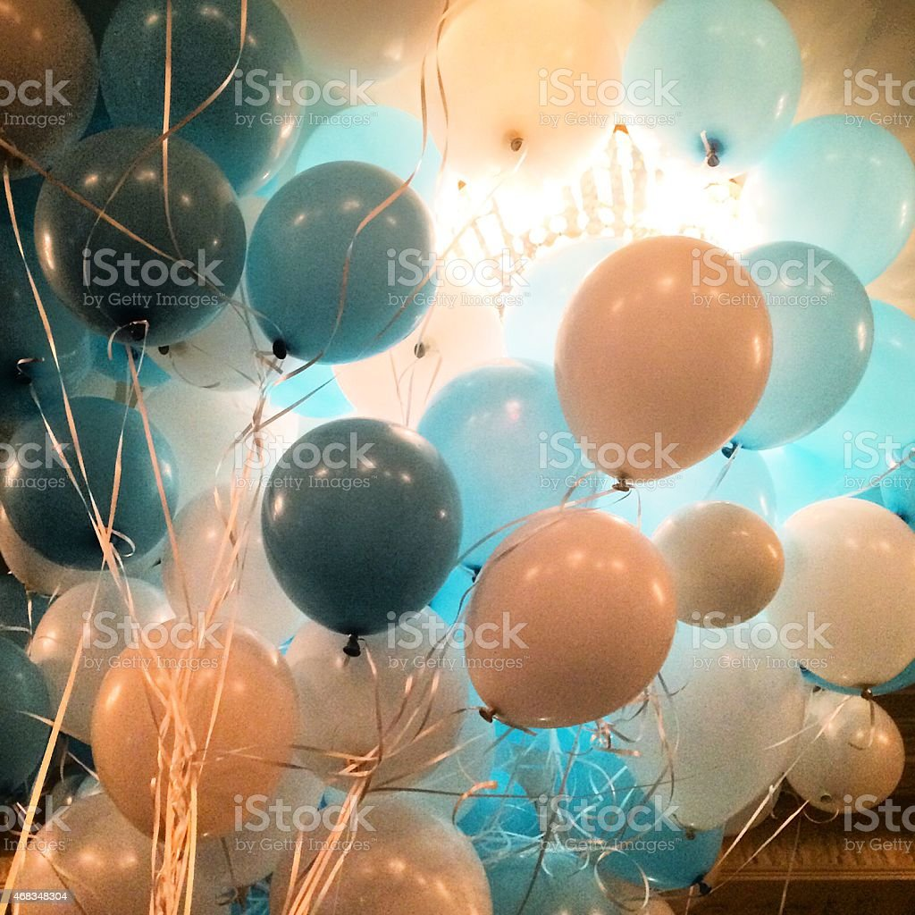 Blue and white party balloons royalty-free stock photo