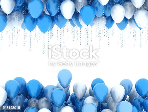 istock Blue and white party balloons 518153015