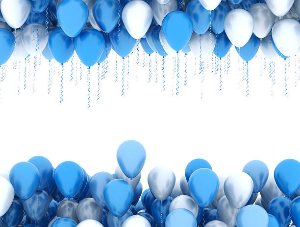 blue and white party ballons - geburtstagsgratulation stock-fotos und bilder
