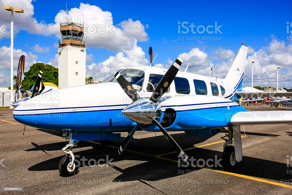 Blue and white Piper Navajo Chieftain PA-31-350 aircraft stock photo