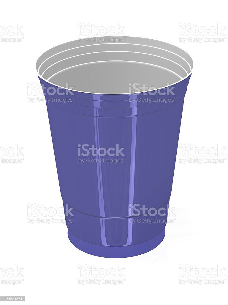 Blue and White Plastic Drinking Cup royalty-free stock photo