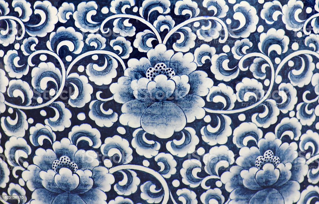 Blue and white porcelain of the flower pattern stock photo