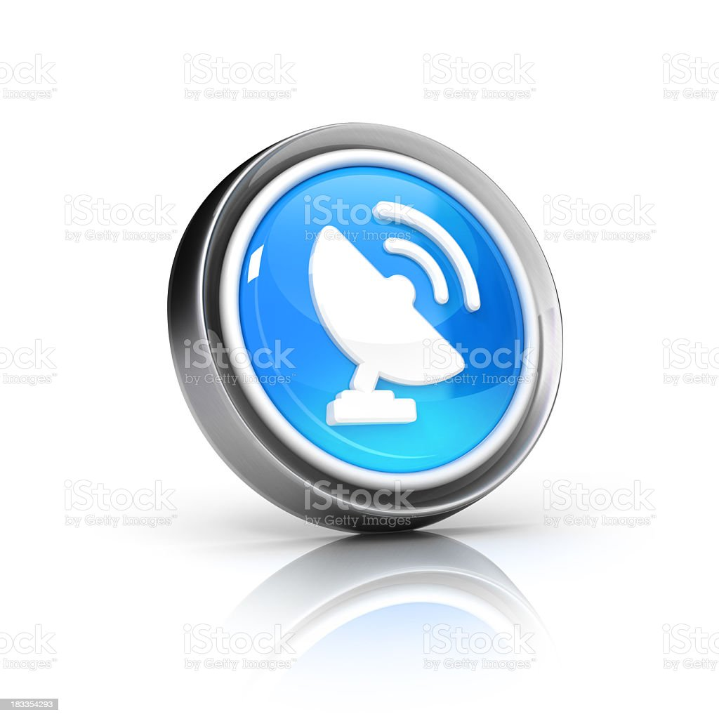 A blue and white satellite dish icon royalty-free stock photo