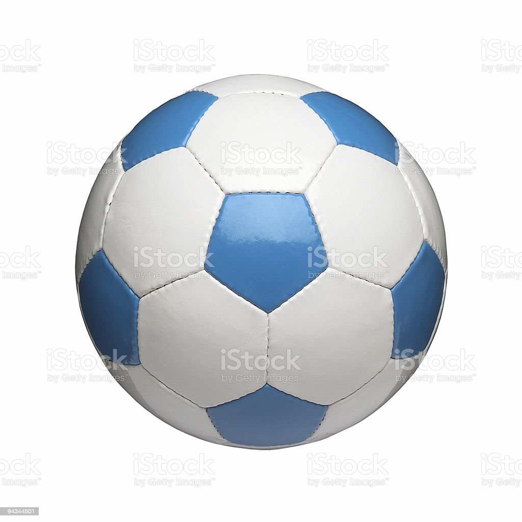 Blue and white soccer ball isolated on white royalty-free stock photo