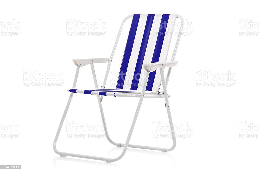 Superb Blue And White Striped Beach Chair Stock Photo Download Caraccident5 Cool Chair Designs And Ideas Caraccident5Info