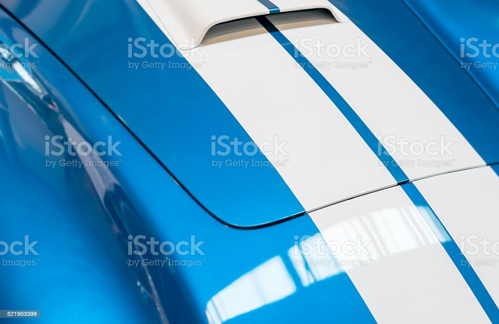 Blue and White Striped Hood of Classic Car stock photo