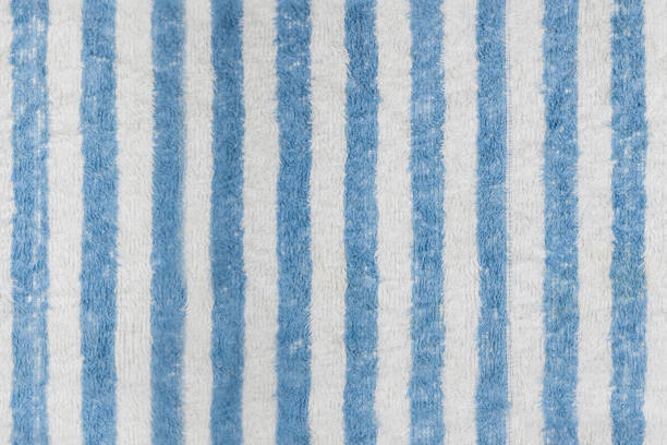 blue and white striped towel texture - hair line surface stock photos and pictures