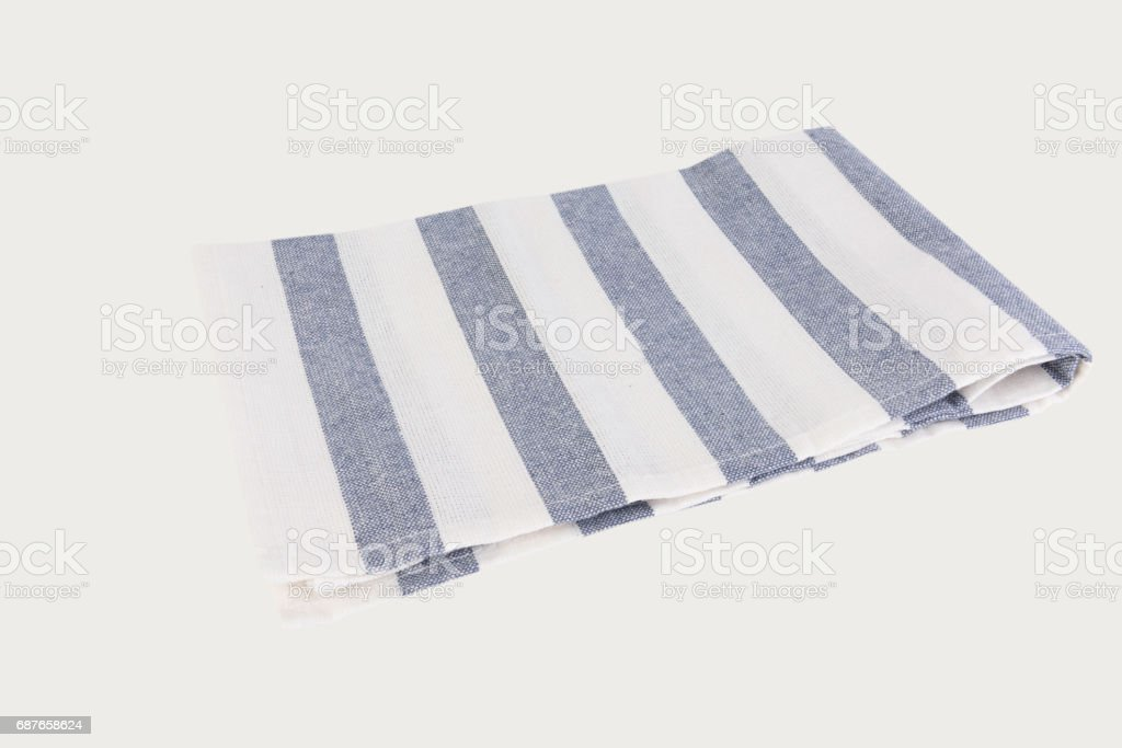 Blue and white stripes cloth isolated on white with clipping path stock photo