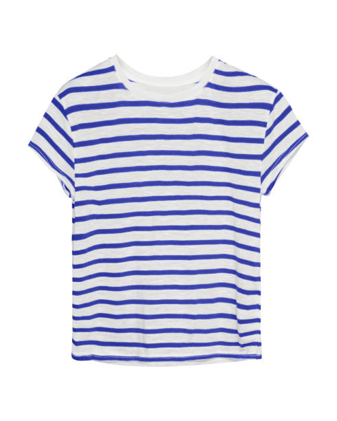 Blue and white stripped sailor style t shirt isolated stock photo