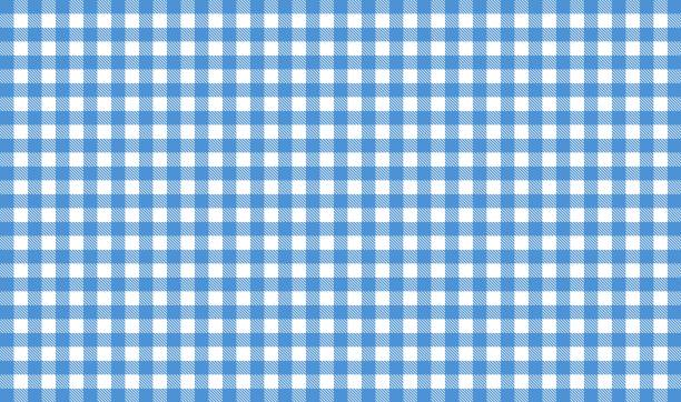 Blue and white tablecloth tablecloth background Tablecloth background - Checkered blue and white plaid stock pictures, royalty-free photos & images