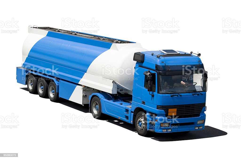 Blue and white truck isolated royalty-free stock photo
