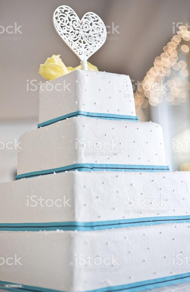 Blue and White Wedding Cake royalty-free stock photo