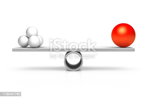 A red and four white balls at a balance