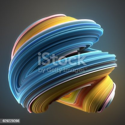 istock Blue and yellow colored twisted shape. Computer generated abstract geometric 629229266